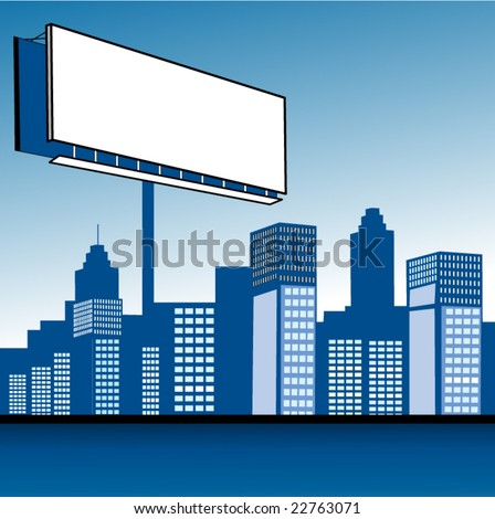 sign over city - stock vector