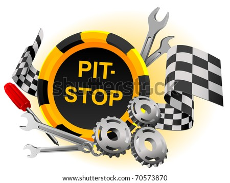 Sign pit-stop in a vector with the tool and gears - stock vector