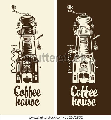 Sign Retro coffee house and grinder with roof - stock vector