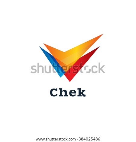Sign select. Check vector isolated logo emblem. Tick colorful icon. - stock vector