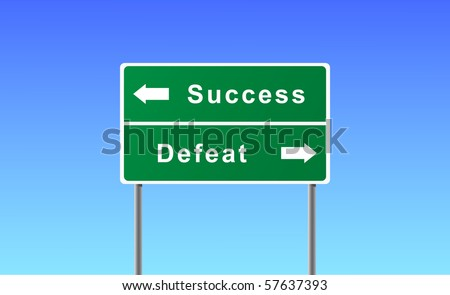 Sign success defeat on sky background. - stock vector