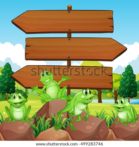 Sign template with frogs on rocks illustration