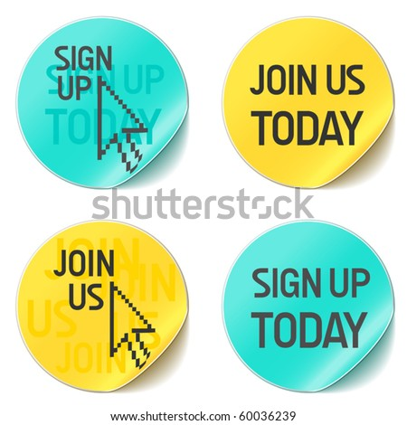 sign up and join us vector website buttons - stock vector