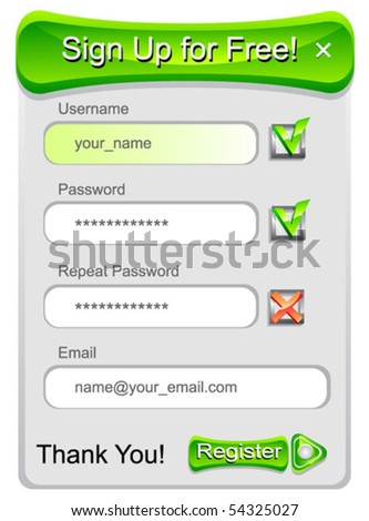 Sign-up form template. Vector