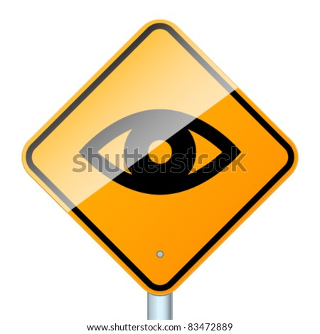 Sign warring about road video surveillance isolated in white background - stock vector