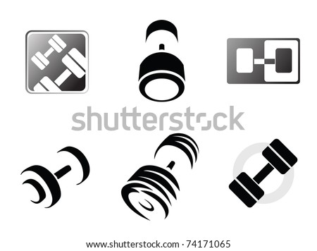Sign weights for fitness or gym logo - stock vector