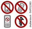 sign with forbidden mobile phone icon - stock photo