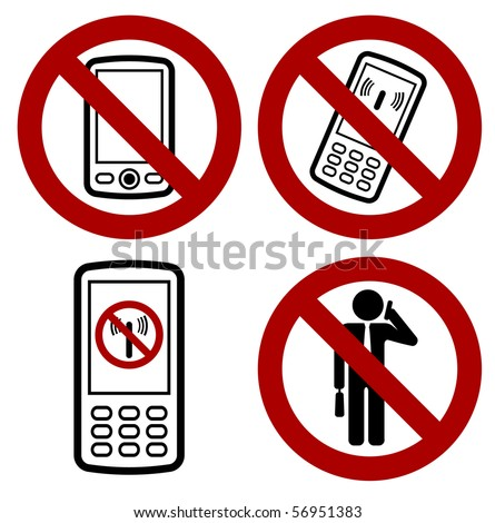 sign with forbidden mobile phone icon - stock vector