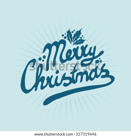sign with Merry Christmas on a blue background vector - stock vector
