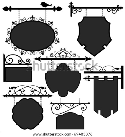 Signage Shop Sign Route Hanging Information Banner Retailer - stock vector