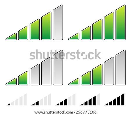 Signal Strength Indicator Symbol Set - Progress Indicators - stock vector