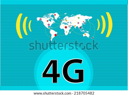 Signal Strength on a Map of Connectivity with 4G text symbol. vector and raster - stock vector