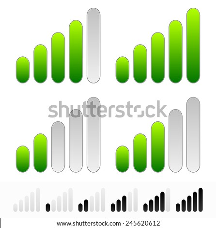 Signal strength, strength, progress or generic level indicators. Black version w/ 1 increments included. Low file size. - stock vector