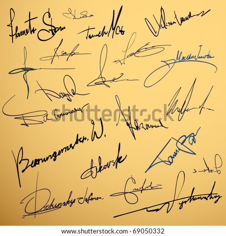 Signature writing design vector collection - stock vector