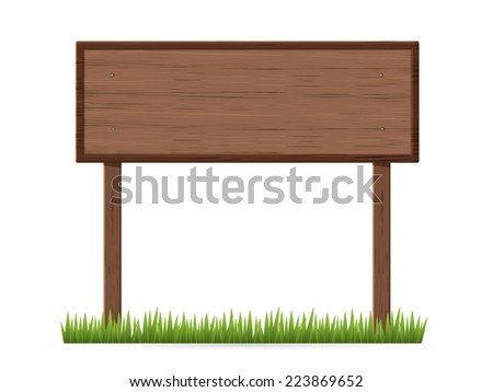 Signboard two poles on a grass - stock vector