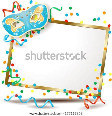 Signboard with carnival mask, horizontal version. Vector  - stock vector