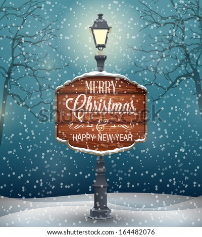 Signboard with Christmas greeting on lamp post, winter night landscape with snow flakes. Vector illustration - stock vector