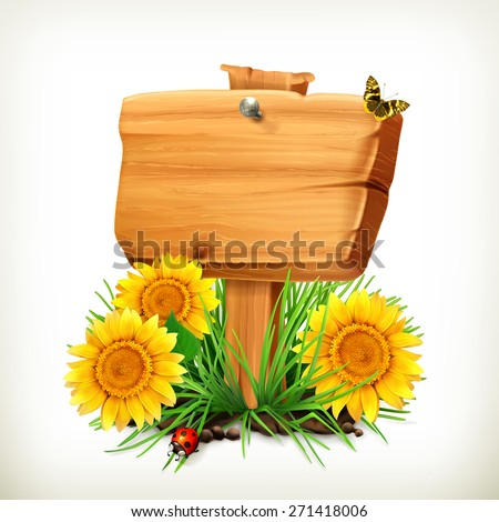 Signboard with sunflowers, ladybug and butterfly on a white background, vector icon, an universal frame for advertising in the summertime - stock vector