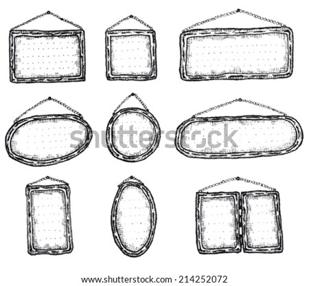 Signboards and restaurant panels set/ Illustration of a set of doodle hand drawn signboards and restaurant menu panels set - stock vector