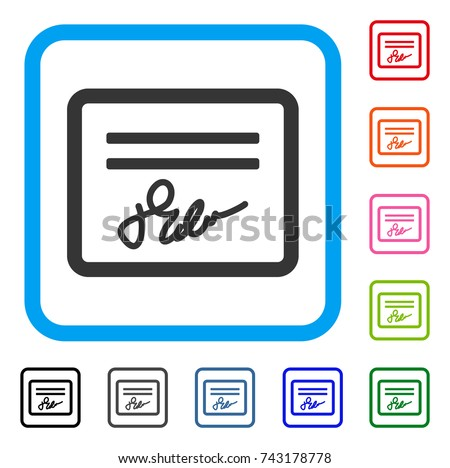 Signed Cheque Icon Flat Gray Iconic Stock Vector 743178778