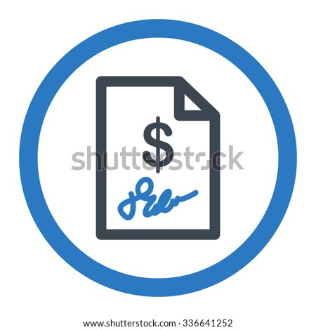 Signed Invoice vector icon. Style is bicolor flat rounded symbol, smooth blue colors, rounded angles, white background. - stock vector