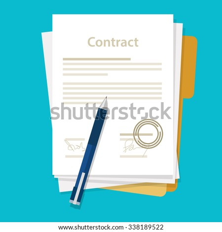 signed paper deal contract icon agreement  pen on desk  flat business illustration vector - stock vector