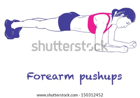 Signed Sports silhouettes of woman doing exercises Push_up - stock vector