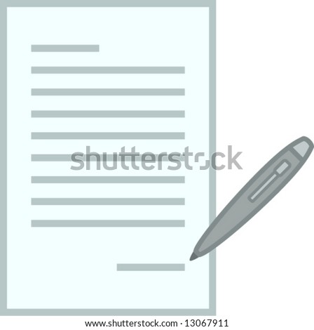signing a document - stock vector