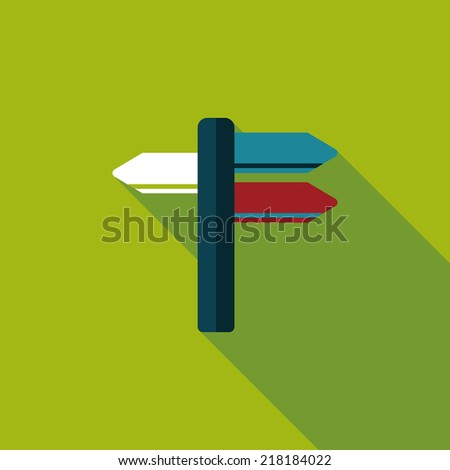 Signpost flat icon with long shadow - stock vector