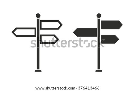 Signpost  icon  on white background. Vector illustration.