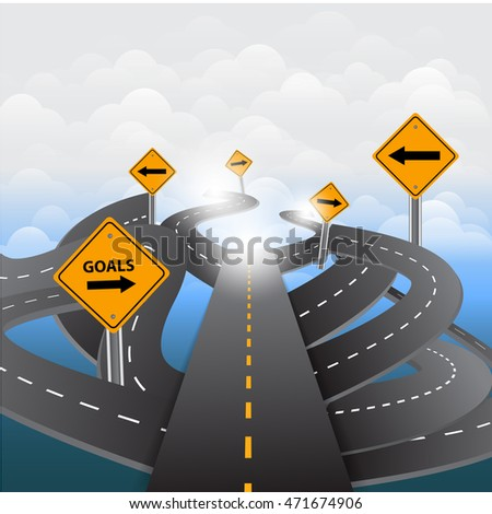 Signs and asphalted road on blue background.Vector