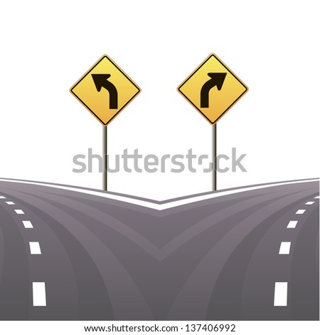 signs and asphalted road on white background.Vector