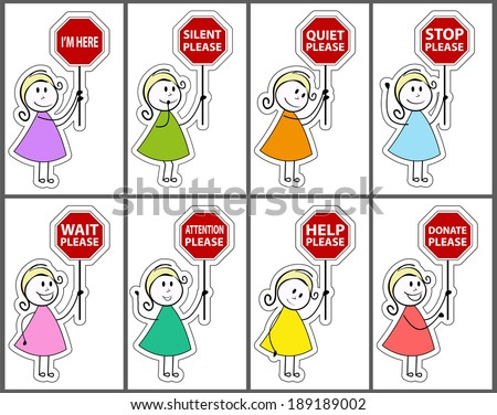 Signs and daughter cartoon - stock vector