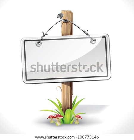 Signs Board with Wire rope hanging on a nail with wood pole on a grass and mushrooms. vector illustration - stock vector