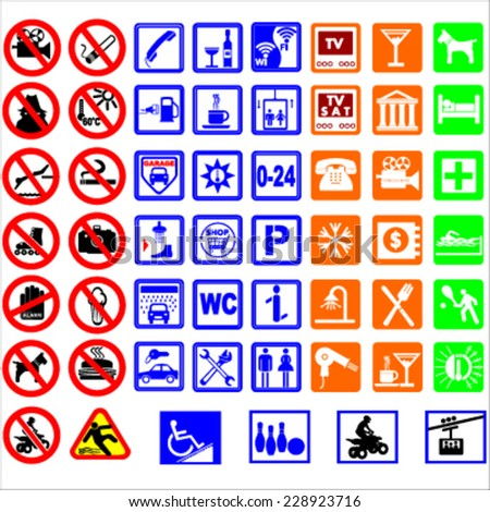 Signs for hotel services and tourism transport / vectors