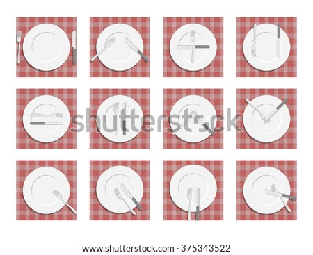 Signs for waiter in the restaurant. Dining etiquette. Cutlery on napkin. Cutlery etiquette.