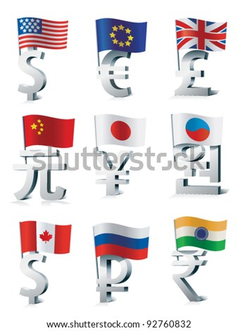 Signs of main world currencies. - stock vector