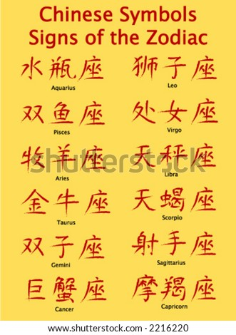 Signs of the zodiac in Chinese symbol form - stock vector