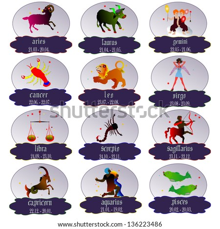 Signs of the zodiac , vector illustration. - stock vector