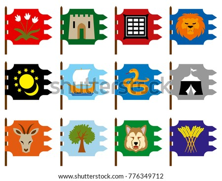 Signs 12 Tribes Israel Stock Vector Royalty Free 776349712
