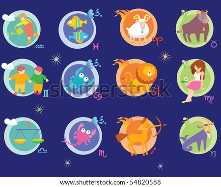 signs of zodiac are a child - stock vector