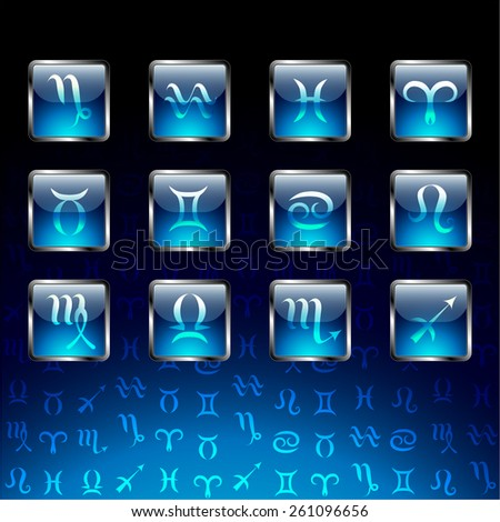 Signs of zodiac on glossy icons and navy blue background. - stock vector