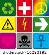 signs on the colored backgrounds - stock vector
