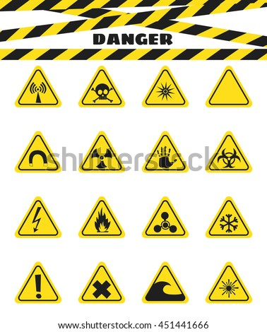 Signs warning of the danger from explosives and flammable liquids, the presence of magnetic field and radiation. Dangerous. Vector illustration