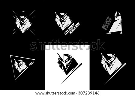Silent killer, hit-man or detective, wears sunglasses, hat and raincoat, holds a handgun. Black and white picture, retro american detective style, poster, sign usage. - stock vector