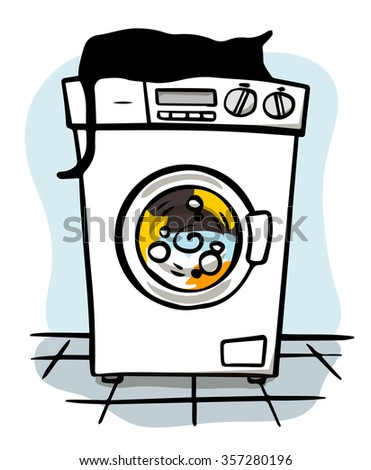 Silent washing machine with cat on top - stock vector