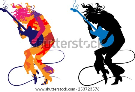Silhouette abstract guitarist on a transparent background, playing on e-guitar - stock vector