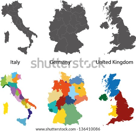 Silhouette and colored maps of the Germany, Italy and United Kingdom regions - stock vector