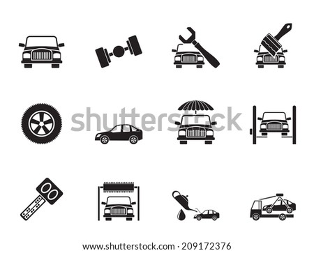 Silhouette auto service and transportation icons - vector icon set - stock vector