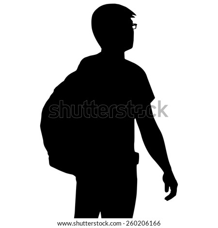 silhouette backpacker isolated on white background
